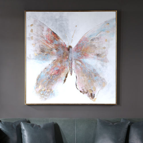 Free Flying Fuchsia and Orange Hand Painted Canvas