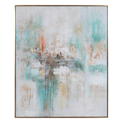Vibrant Expression Gray, Green, Gold Leaf and Burnt Orange Hand Painted Art