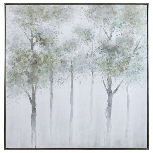 Calm Forest Green, Yellow, Gray, and White Landscape Art