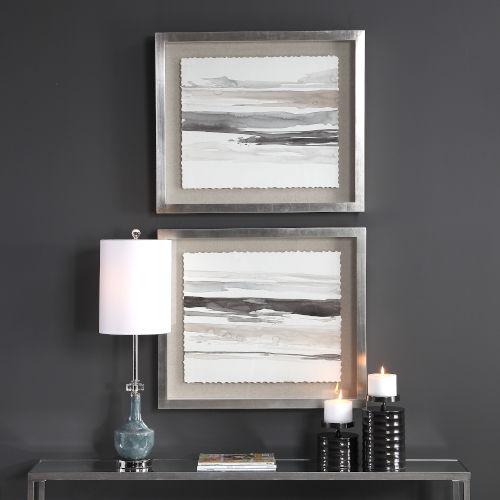 Neutral Charcoal Landscape Framed Print, Set of 2