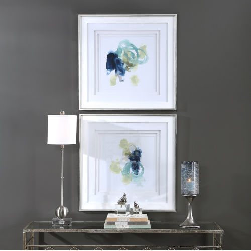 Integral Motion Teal and Yellow Framed Print, Set of 2