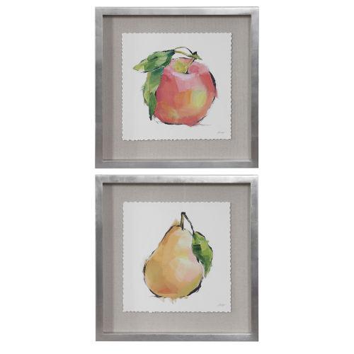 Designer Multicolor Fruit Framed Print, Set of 2