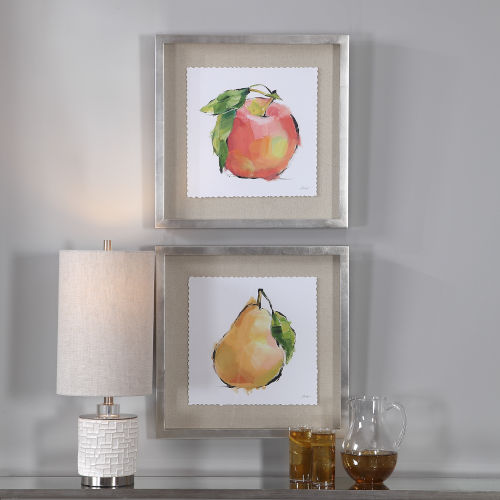 Designer Multicolor Fruit Framed Print, Set of 2