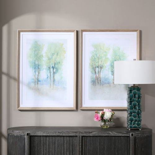 Meadow View Silver Framed Prints, Set of 2