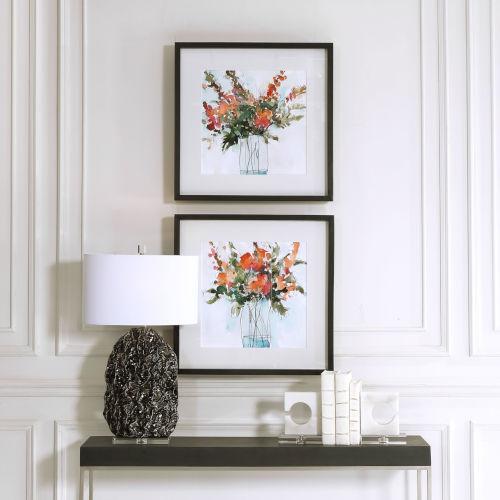 Fresh Flowers Charcoal Watercolor Prints, Set of 2