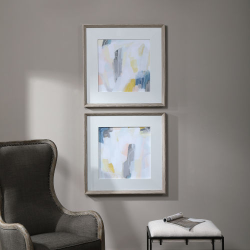 Fractal Pastel Gray and White Abstract Art, Set of 2