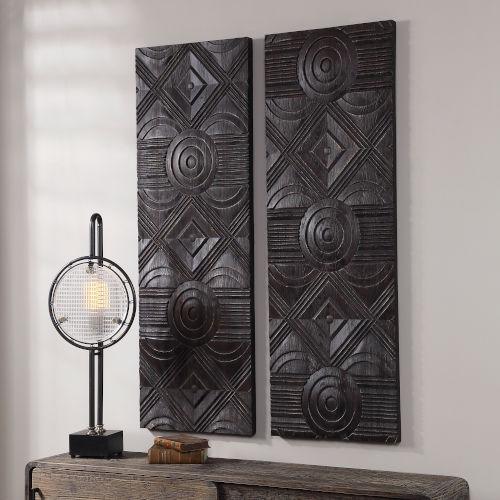 Asuka Dark Walnut Carved Wood Wall Panel, Set of 2