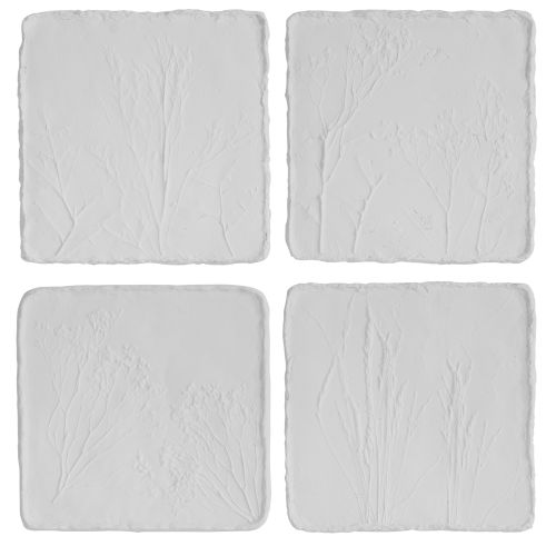 Angeline Matte White Floral Wall Decor, Set of 4