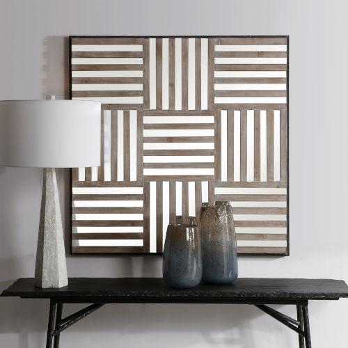 Terrence Light Gray Wash Mirrored Wall Decor