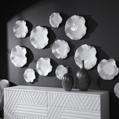 Abella White Ceramic Wall Decor, Set of 3