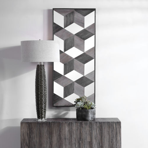 Ambie Solid Fir Wood Mirrored Wall Decor