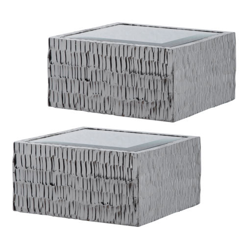 Jessamine Metallic Silver Wall Shelves, Set of 2
