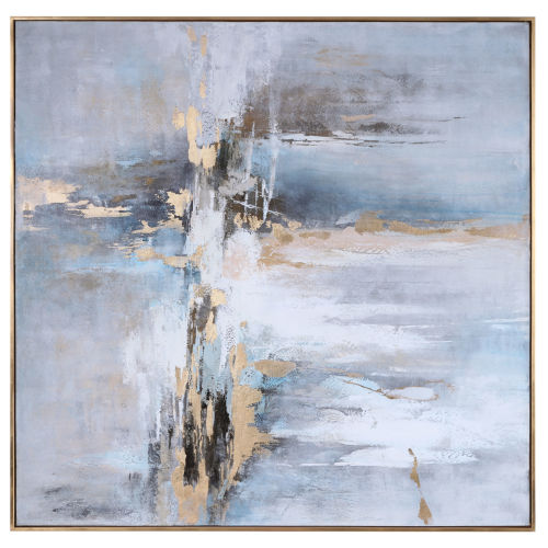 Road Less Traveled Light Gray, Gold Leaf and White Abstract Art