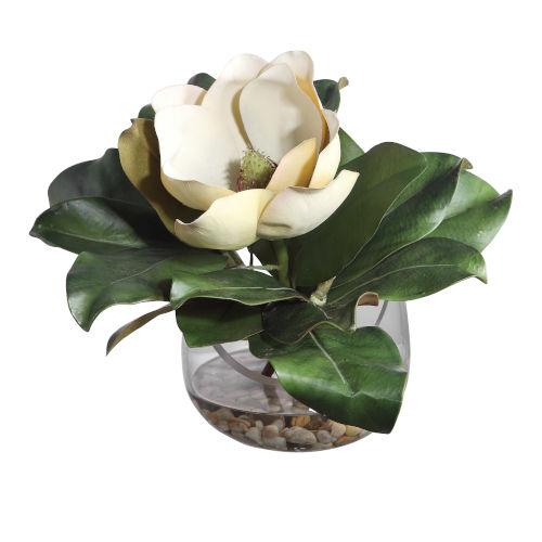 Celia Natural Green Silk Magnolia Accent