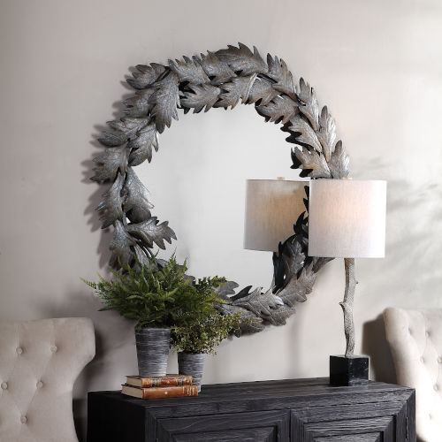 Zandra Green and Gray Round Mirror