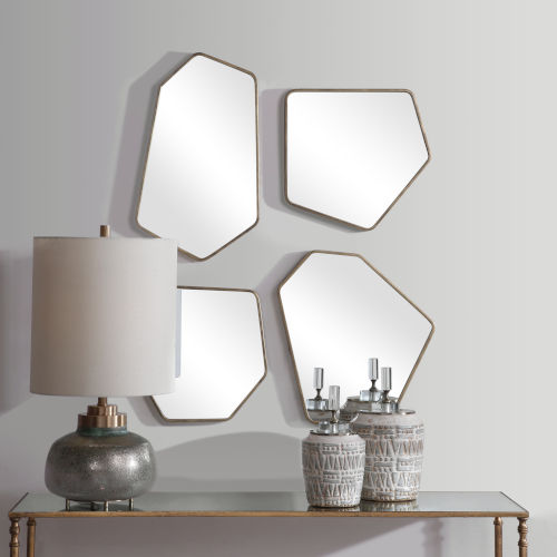 Linneah Aged Gold Mirrors, Set of 4