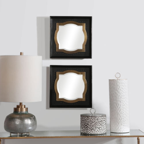 Anisah Dark Bronze Moroccan Mirrors, Set of 2