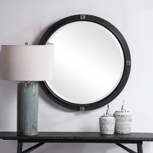 Tull Antique Brass Industrial Round Mirror