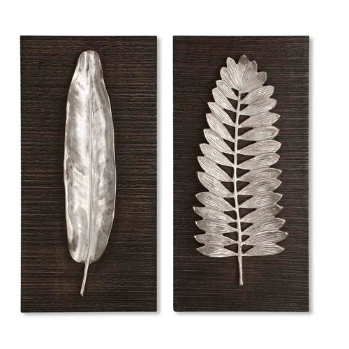 Silver Leaves Wall Decor, Set of Two