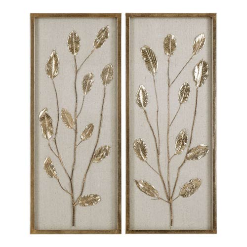 Branching Out Gold Leaf Panels, Set of Two