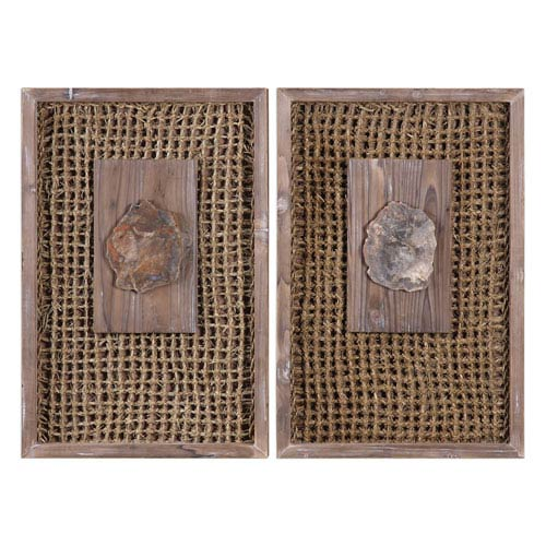 Endicott Petrified Wood Panels, Set of Two
