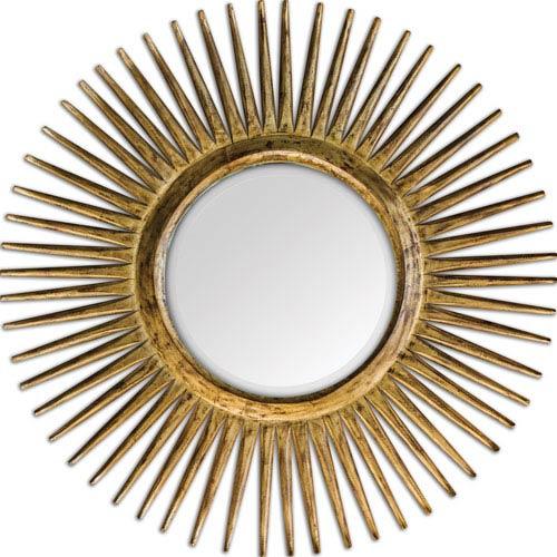 Destello Carved Teak Wood with Gold Leaf Gold Starburst Mirror