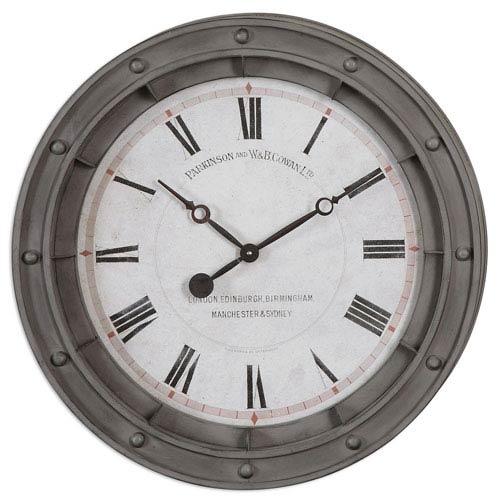 Porthole Rust Gray Wall Clock