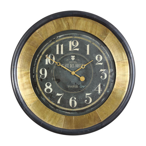 Lannaster Black and Gold Wall Clock