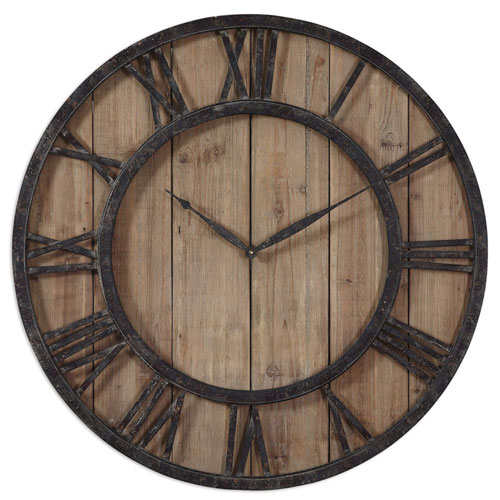 Powell Rustic Dark Bronze Wall Clock