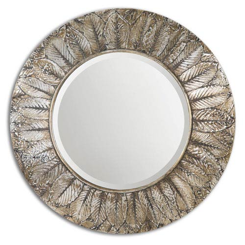 Uttermost Foliage Layered Natural Distressed Silver Leaf Round Mirror