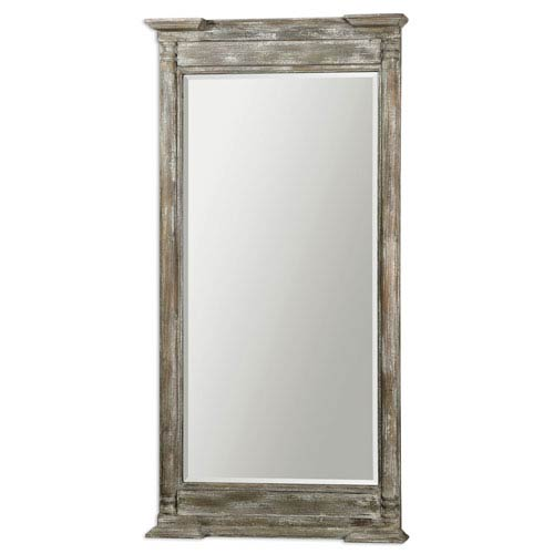 Valcellina Ivory and Gray Wooden Leaner Mirror
