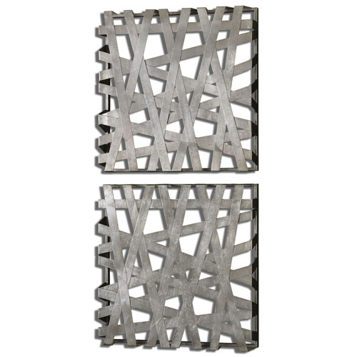 uttermost wall decor wood metal door wall uttermost alita squares bright silver leaf alternative wall decor set of decor