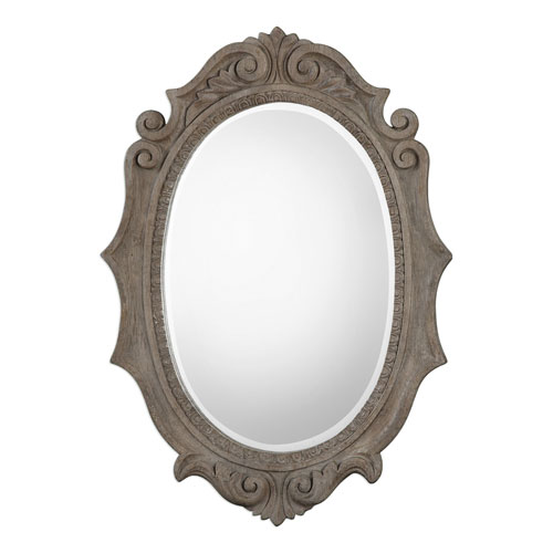 Serafina Aged Scroll Oval Mirror