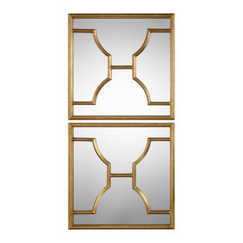Misa Gold Square Mirrors, Set of Two