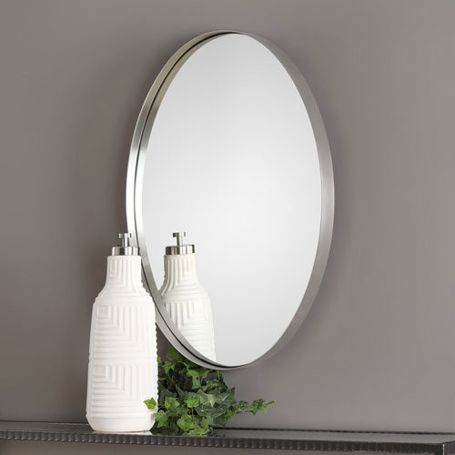 Pursley Brushed Nickel Oval Mirror