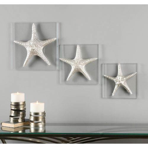 Silver Starfish by David Frisch: 14.5 x 14.5-Inch Wall Art, Set of Three
