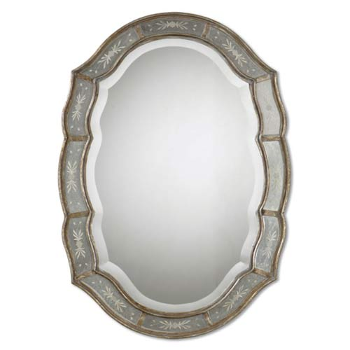 Fifi Antiqued Silver Oval Mirror