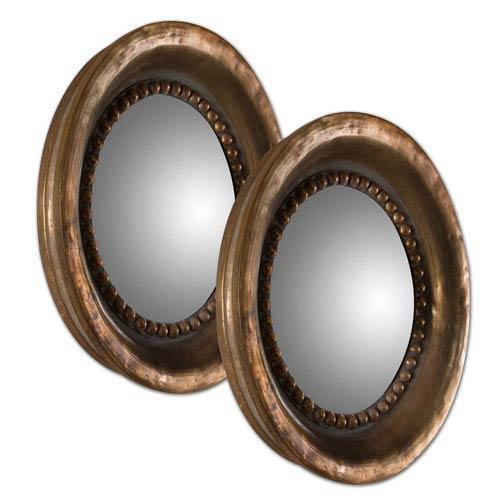 Tropea Copper Round Wood Mirror, Set of 2