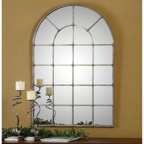 Barwell Forged Metal with Oxidized Plated Silver Arch Window Mirror