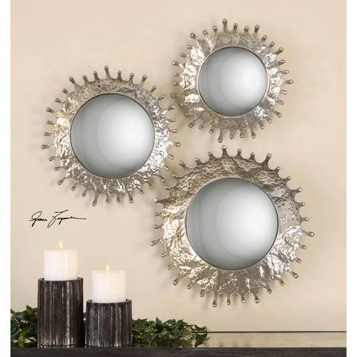 Rain Splash Silver Champagne Round Mirror, Set of Three