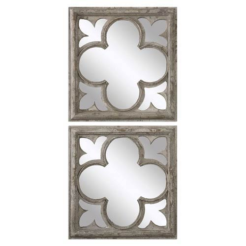 Vellauni Aged White and Weathered Wood Quatrefoil Mirrors, Set of Two