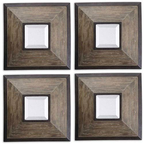 Uttermost Fendrel Rustic Dark Bronze Square Wood Mirror, Set of 4