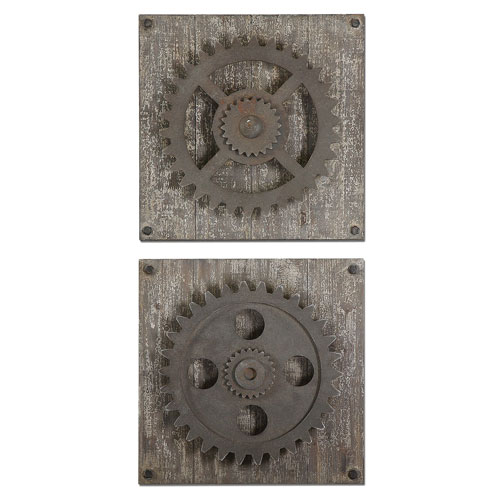 Rustic Gears Bronze Wall Art, Set of 2