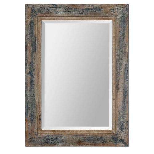Bozeman Blue and Aged Wood 37.75-Inch Mirror