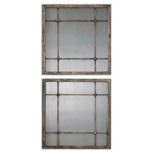 Saragano Distressed Slate Blue, Aged Ivory and Antique Square Mirror, Set of 2