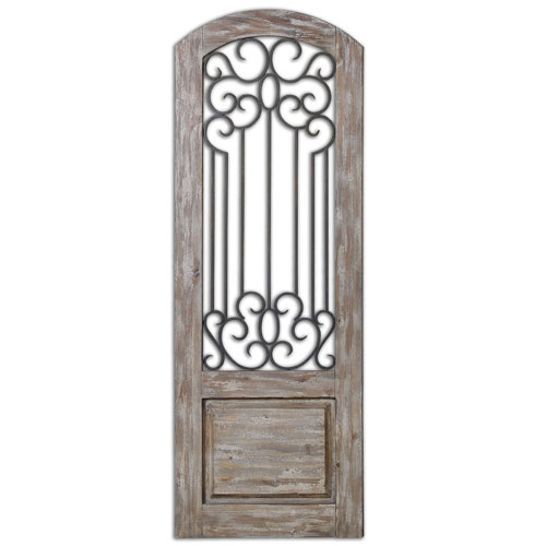 Uttermost Mulino Distressed Solid Wood, Taupe Gray and Aged Rust Bronze Wall Panel