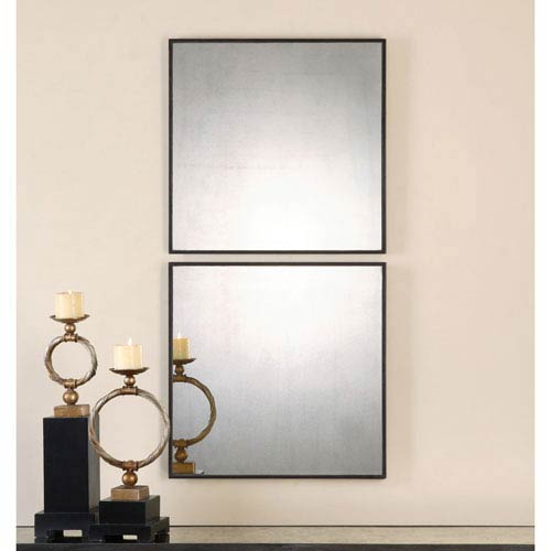 Matty Aged Black Square Mirror, Set Of Two
