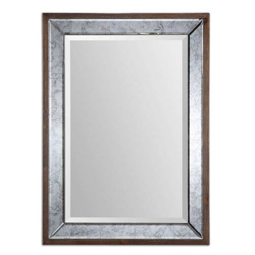 Uttermost Daria Aged Pecan Stained Solid Wood Antique Framed Mirror