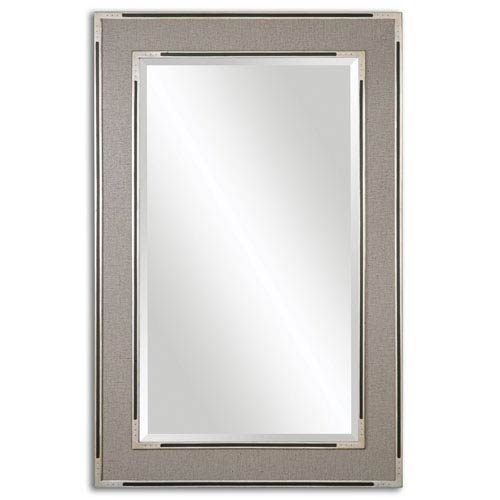Alfred Antiqued Silver and Gray Tan Framed Mirror