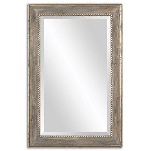 Quintina Burnished Pine Frame and Antiqued Gold Leaf Mirror